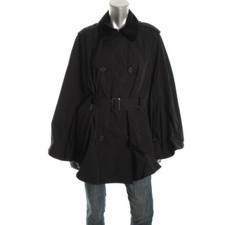 Ralph Lauren Womens Ribbed Collar Double-Breasted Poncho - S/M