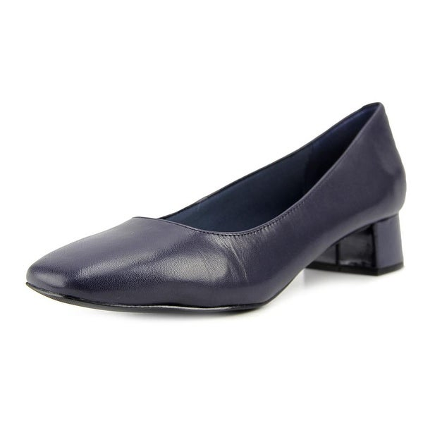 Trotters Lola Women N/S Square Toe Leather Blue Heels
