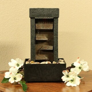 Tiered Shelves Tabletop Water Feature Uniquely Lit Step Style Indoor Fountain