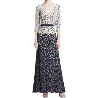 Tadashi Shoji Womens Evening Dress Crochet 3/4 Sleeve