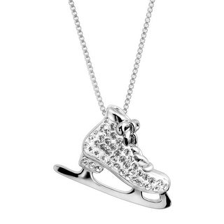 Crystaluxe Ice Skate Pendant with Swarovski Crystals in Sterling Silver - White