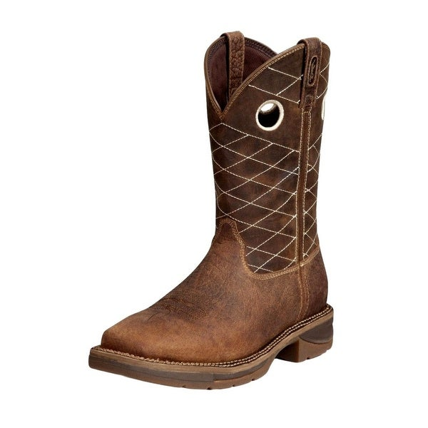 "Durango Work Boots Mens 11"" Rebel CT Pull Leather Nicotine Choc"