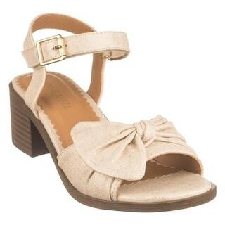 Nine West Kids Girls' Keirah Ankle Strap Sandal Gold Metallic Linen
