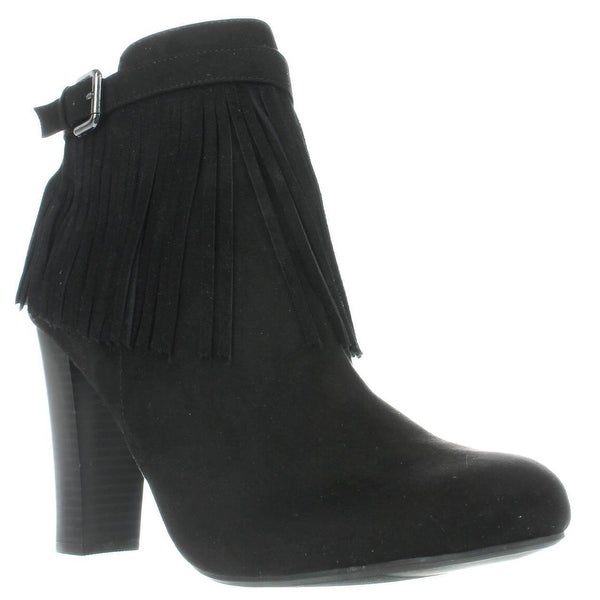 MG35 Persia Fringe Dress Ankle Boots, Black