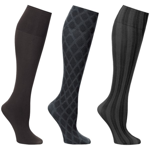 7abb664cd6a Shop Women s Wide Calf Solid and Patterned Trouser Socks Set of 3 ...