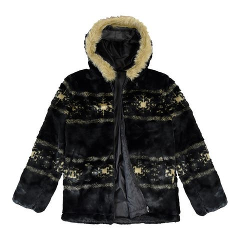 Victory Outfitters Women's Reversible Faux Fur Patterned Zip Up Jacket