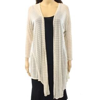 Abound NEW Beige Oatmeal Size Medium M Junior Striped Cardigan Sweater DEAL