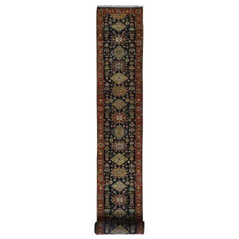 """Hand Knotted Black Heriz with Wool Oriental Rug (2'7"""" x 21'8"""") - 2'7"""" x 21'8"""""""