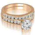 1.52 cttw. 14K Rose Gold Cathedral Channel Set Round Cut Diamond Bridal Set - Thumbnail 0