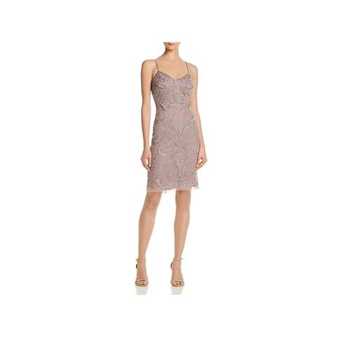 Aidan Mattox Womens Cocktail Dress Knee-Length Embellished