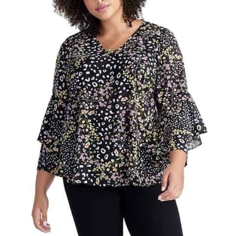 Rachel Roy Womens Blouse Black Multi Size 14W Plus Floral V-Neck