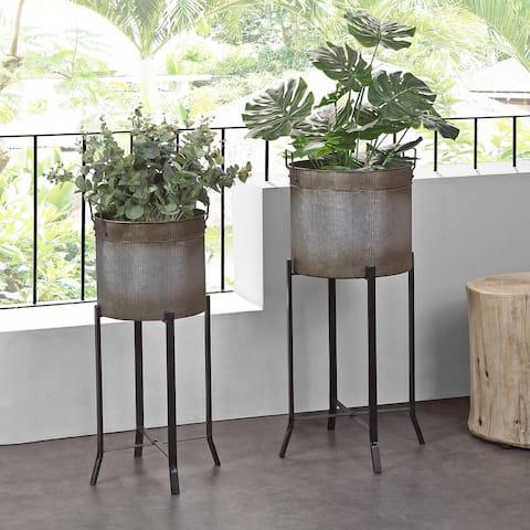 FirsTime & Co.® Farmhouse Trough Outdoor Planter 2-Piece Set, Aged Galvanized Metal, Metal, 15.5 x 14 x 32.5 in