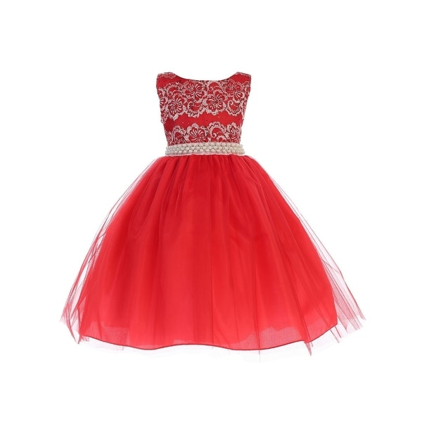 df5446c1a Shop Ellie Kids Girls Red Lace Pearl Taffeta Christmas Flower Girl ...
