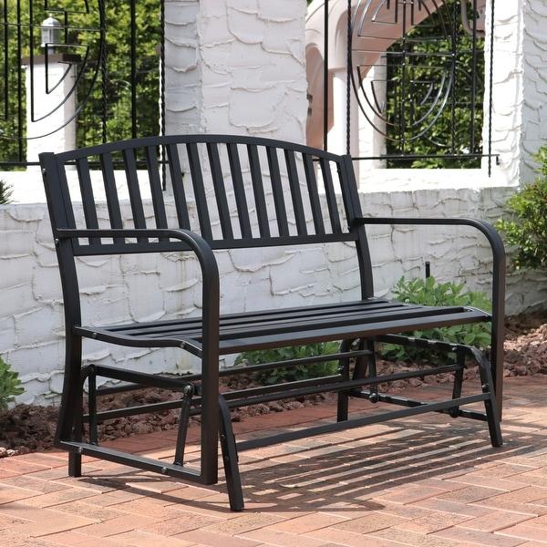Sunnydaze Black Steel Metal Outdoor Patio Garden Glider Bench - 50-Inch