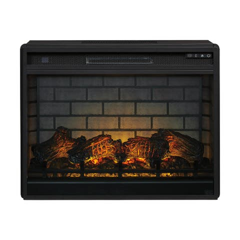 Entertainment Black Contemporary Large Fireplace Insert