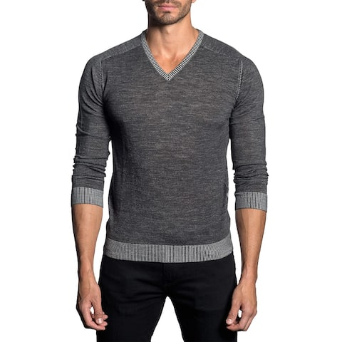 Jared Lang Contrast Striped V-Neck Knit Sweater Large Heather Grey Jumper