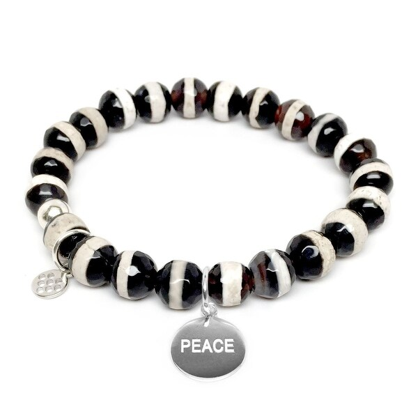 "Black & White Agate Peace Silver Charm Lucy 7"" Bracelet"