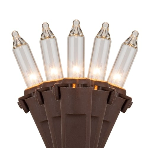 "Wintergreen Lighting 17534 50.5' Long Outdoor Premium 100 Mini Light Holiday Light Strand with 6"" Spacing and Brown Wire"