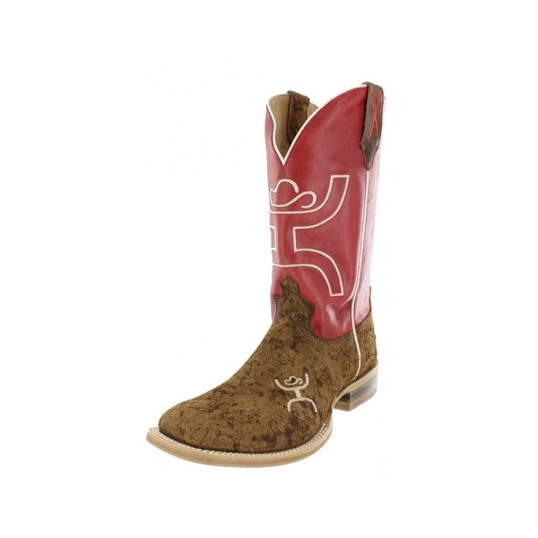 HOOey Western Boots Men Cowboy Wide Square Motiley Distressed