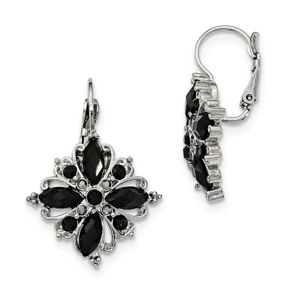 Silvertone Black Glass Dangle Shepherds Hook Earrings