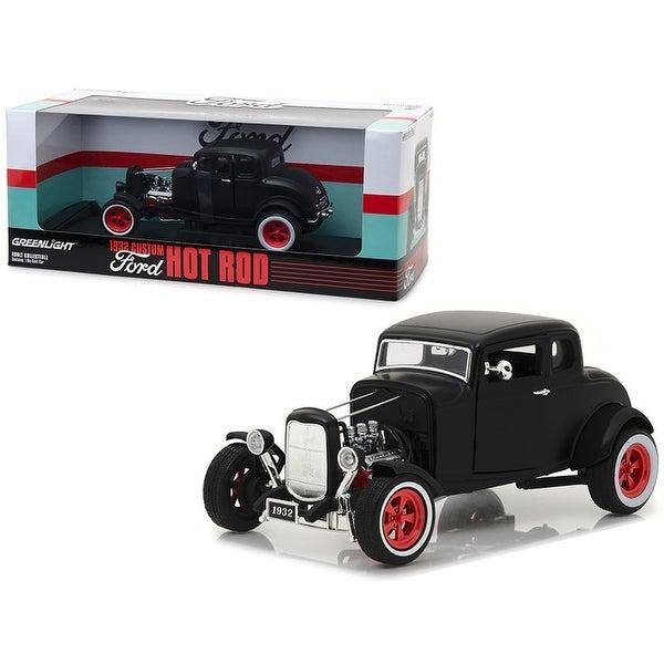 1932 Ford Custom Hot Rod Matt Black 1/18 Diecast Car Model by Greenlight - 1/18 Diecast Model. Opens flyout.