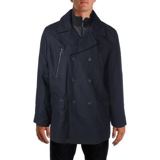 Calvin Klein Mens Pea Coat Wool Blend Double-Breasted