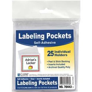 """Clear/White - Self-Adhesive Labeling Pockets 3.75""""X3"""" 25/Pkg"""
