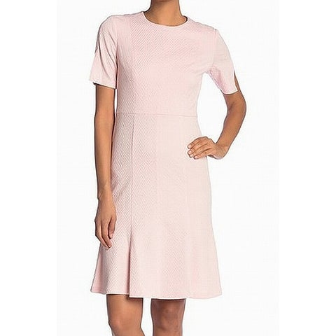 Donna Morgan Pink Womens Size 2 Textured Chevron Knit A-Line Dress