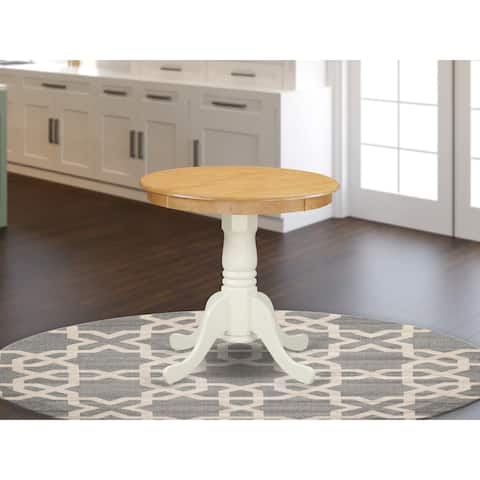 East West Furniture Rubber Wood Dining Table with Oak Finish Table Top and Linen White Pedestal - EMT-OLW-TP