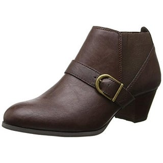 Bass Womens Pisa Booties Faux Leather Belted