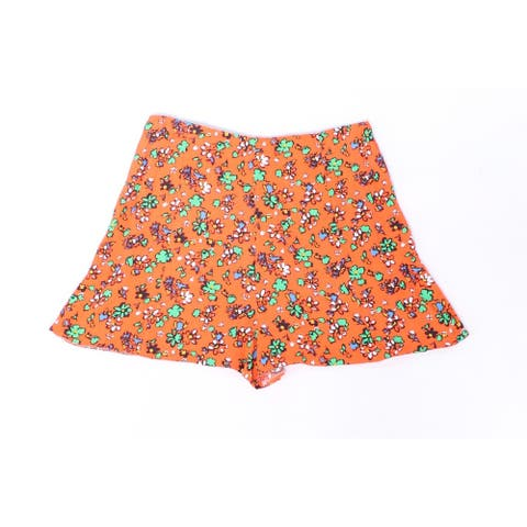 Topshop Womens High-Waist Floral Print Flowy Shorts