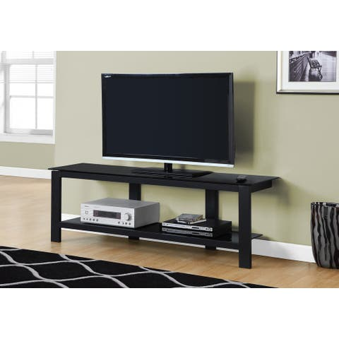Monarch 2500 Black Metal With Black Tempered Glass 60nch Tv Stand