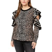 Rachel Rachel Roy Womens Plus Pullover Sweater Knit Cold Shoulder
