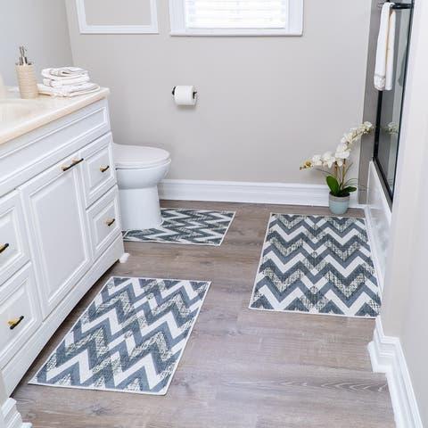 Geometric Design 3 Piece Bathroom Rugs Set - Non-Slip Ultra Thin Bath Rugs for Bathroom Floor - Washable Bathroom Mats Set