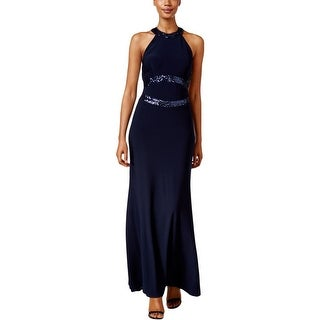 Betsy & Adam Womens Evening Dress Sequined Cut-Out