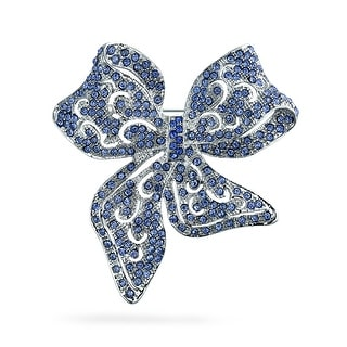 Bling Jewelry Imitation Blue Topaz Crystal Bow Ribbon Pin Rhodium Plated