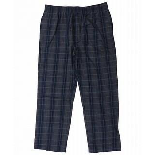Majestic NEW Navy Blue Charcoal Mens XL Plaid Drawstring Lounge Pants