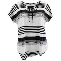 Women Plus Size Thin Thick Stripes Keyhole Knit Top Tee Shirt Black White