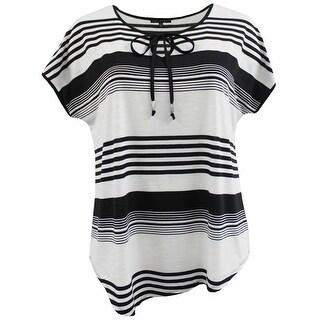 Women Plus Size Thin Thick Stripes Keyhole Knit Top Tee Shirt Black White