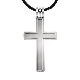 Chisel Brushed and Polished Etched Stainless Steel Cross Necklace on 18 Inch Leather Cord (2 mm) - 18 in