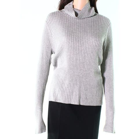 Abound Gray Womens Size Large L Ribbed Slim Fit Turtleneck Sweater 734