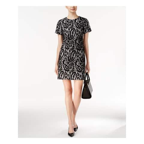 MICHAEL KORS Black Short Sleeve Above The Knee Shift Dress Size 14