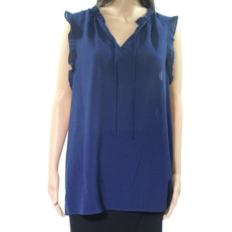 14th & Union Blue Tie Front Ruffle Women's Size Large L Chiffon Blouse