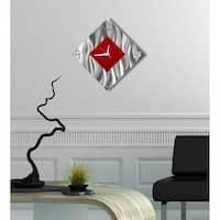 "Statements2000 Red/Silver Metal Wall Clock Modern Art by Jon Allen - Fresh Start Clock - 17"" x 17"""