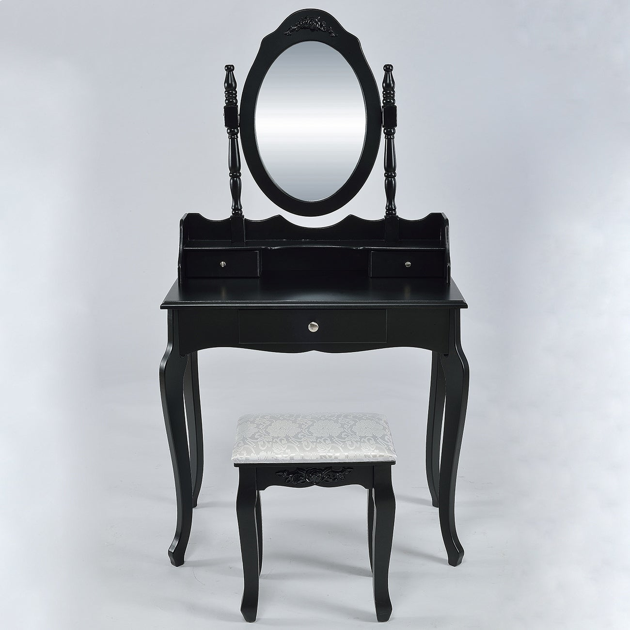 Belleze Vanity Set Vintage Style Vanity Dressing Table Makeup Desk With Mirror And Stool Bedroom Black Overstock 15889757