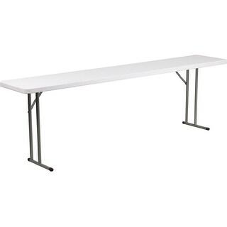 "Rivera 18''W x 96''L Plastic Folding Table, Granite White, 1.75"" Thick"