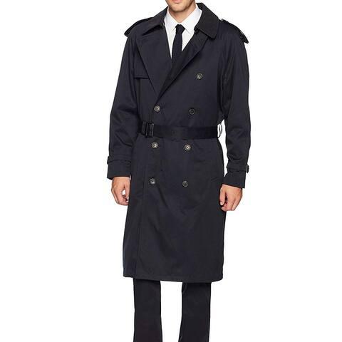 Hart Schaffner Marx Mens Navy Blue Size 38R Burnett Belt Trench Coat