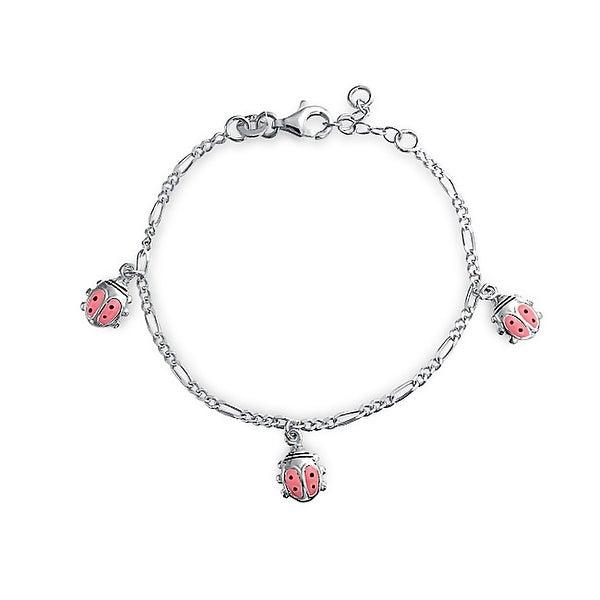 Pink Ladybug Dangling Charm Bracelet Women 925 Sterling Silver 6 Inch. Opens flyout.
