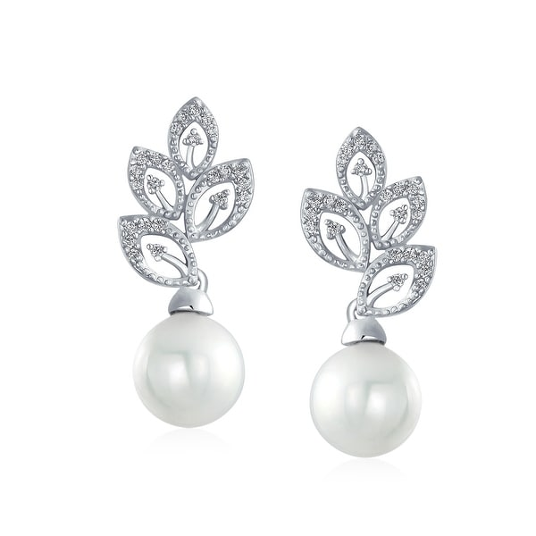 White Gold Plated Bridal Pearl Cubic Zirconia Drop Earrings Gorgeous Lightweight