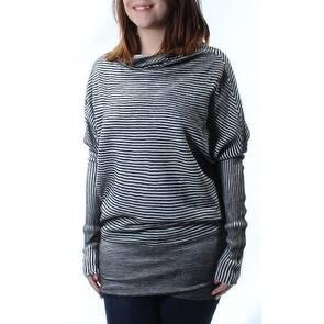 KIIND OF Womens Gray Glitter Striped Dolman Sleeve Cowl Neck Sweater Size: S